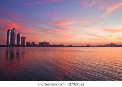 Abu Dhabi skyline at the sunset