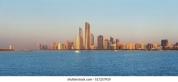 Abu Dhabi Skyline at sunset, View on Al Sahil Beach - Corniche Road West - Al Khalidiyah, United Arab Emirates