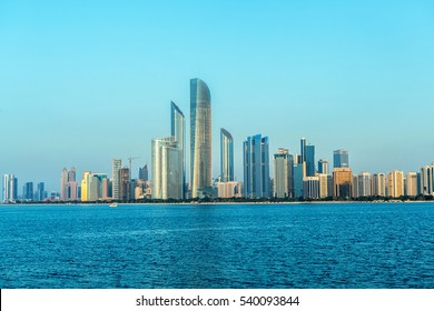 Abu Dhabi Skyline at sunset, View on Al Sahil Beach - Corniche Road West - Al Khalidiyah, United Arab Emirates