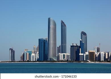 Abu Dhabi Skyline view from the Marina Mall. United Arab Emirates