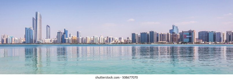Abu Dhabi Skyline with water
