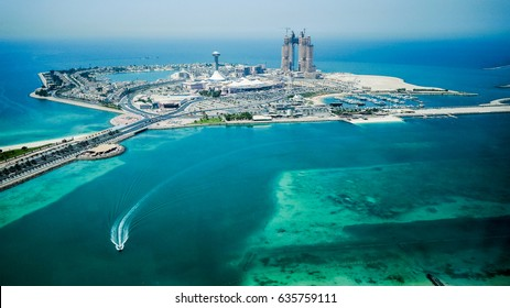 Abu Dhabi. In the summer of 2016. The construction of artificial Islands in the Arabian Gulf.