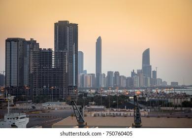 Abu Dhabi sunset. View from zayed port. UAE
