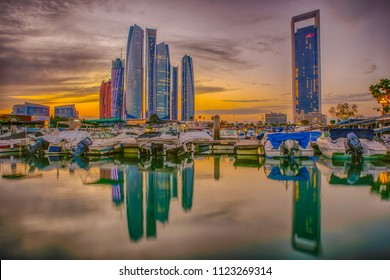Abu Dhabi / UAE - 15 July 2016: sunset in Abu Dhabi with skyline view at winter day
