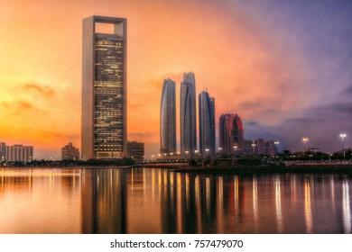 Abu dhabi, UAE - 2016 - Abudhabi Skyline at the sunset