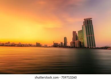 Abu Dhabi, UAE - 2017 - Al reem Island skyline in Abudhabi at sunset