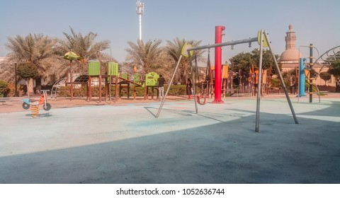 Abu Dhabi, UAE - 2018 - Khalifa City A park  and kids playground in Abudhabi, UAE.