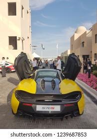 abu Dhabi,  UAE- 24 November. Aston Martin car displayed between team villas in Paddock at Yas Marina circuit,  during F1
