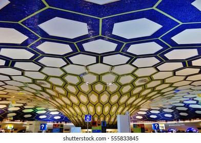 ABU DHABI, UAE -27 DEC 2016- Inside the terminal at Abu Dhabi International Airport (AUH). It is the main hub for Etihad Airways (EY).