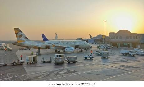 ABU DHABI, UAE - 2nd July, 2017:Etihad Airways getting ready before flying out.
