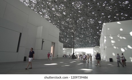Abu Dhabi, UAE - April 04, 2018: Interior of the new Louvre Museum in Abu Dhabi showing reflections of the Rain of Light dome