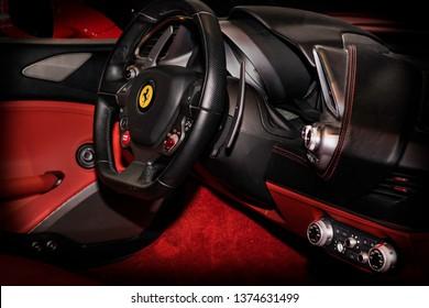 Abu Dhabi, Abu Dhabi, UAE - April 09, 2019 - red vehicle interior in Ferrari World Abu Dhabi