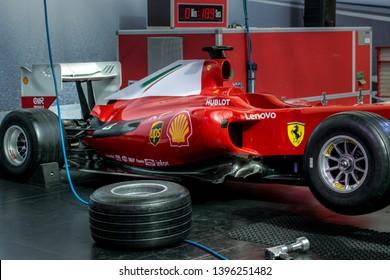 Abu Dhabi, Abu Dhabi, UAE - April 09, 2019 -  attraction pit stop in Ferrari World Abu Dhabi