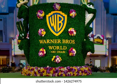 Abu Dhabi, Abu Dhabi, UAE - April 11, 2019 - at the entrance Warner Brothers World Abu Dhabi