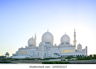 ABU DHABI, UAE - APRIL, 2016: Amazing view of Sheikh Zayed Grand Mosque, one of the most impressive contemporary mosques in the world.