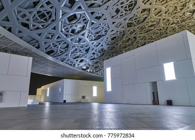 Abu Dhabi, UAE - APRIL 24, 2017: internal view of the new Louvre museum and his dome structure