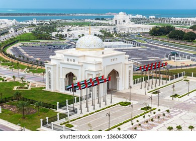 Abu Dhabi, UAE - April 4. 2019. Arch at the entrance to Presidential Palace in the emirate of Abu Dhabi