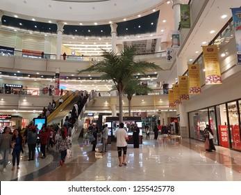 Abu Dhabi,  UAE- Circa 2018. The main Atrium of Al Wahda mall with crowd
