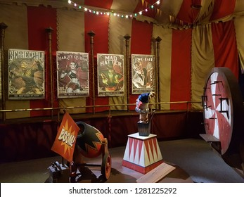 Abu Dhabi,  UAE- Circa 2019. Red and yellow Interior of Scary House  at Warner Brothers Park