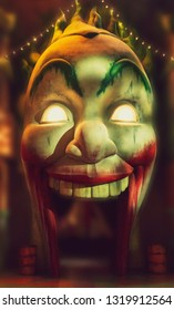 Abu Dhabi, UAE- Circa 2019, Warner Brothers Theme Park, Yas Island, Gotham City at Night, The Joker Funhouse Close Up