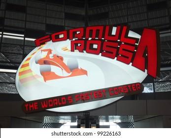 ABU DHABI, UAE - DEC 22: Roller coaster entrance at Ferrari World at Yas Island in Abu Dubai in the UAE on December 22, 2011. Ferrari World is the largest indoor amusement park in the world.