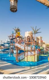 ABU DHABI, UAE - DEC 25: Yas Waterworld Ride in Yas Island on Dec 25, 2017. Yas Waterworld is the only Emirati-themed waterpark in the world.