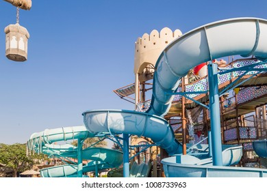 ABU DHABI, UAE - DEC 25: Yas Waterworld Area in Yas Island on Dec 25, 2017. Yas Waterworld is the only Emirati-themed waterpark in the world.