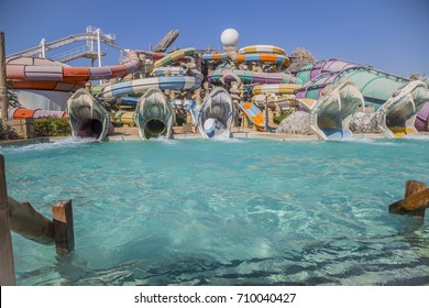 ABU DHABI, UAE - DEC 25: Yas Waterworld Area in Yas Island on Dec 25, 2016. Yas Waterworld is the only Emirati-themed waterpark in the world.