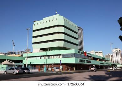 ABU DHABI, UAE - DEC 26: Main Bus Terminal in the city of Abu Dhabi. December 26 2013 in Abu Dhabi, United Arab Emirates