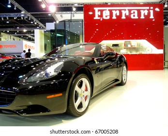 ABU DHABI, UAE - DECEMBER 10: Ferrari California on display during Abu Dhabi Int'l Motor Show 2010 at Abu Dhabi Int'l Exhibition Centre December 10, 2010 in Abu Dhabi,United Arab Emirates.