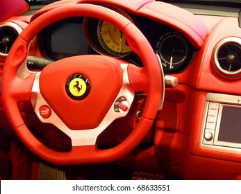 ABU DHABI, UAE - DECEMBER 10: Steering Wheel Interior Ferrari California during Abu Dhabi Int'l Motor Show 2010 at Abu Dhabi Int'l Exhibition Centre December 10, 2010 in Abu Dhabi, UAE.