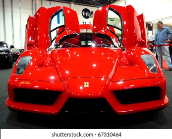 ABU DHABI, UAE - DECEMBER 10:Ferrari Enzo on display during Abu Dhabi Int'l Motor Show 2010 at Abu Dhabi Int'l Exhibition Centre December 10, 2010 in Abu Dhabi,United Arab Emirates.