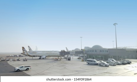 Abu Dhabi, UAE - Feb 2019: Selective focus of Etihad aircraft ready for passenger on boarding at Abu Dhabi's International Airport. Second-largest airline in UAE, also cater low-cost travel market