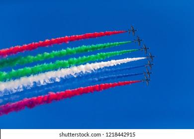 ABU DHABI, UAE - FEBRUARY 03, 2018: Al Fursan aerobatic team doing stunts in the sky in Abu Dhabi, UAE