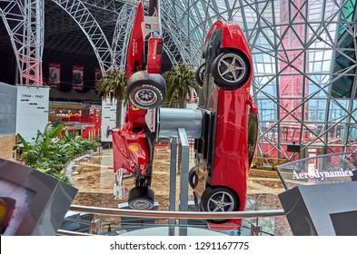 ABU DHABI, UAE - FEBRUARY 2014: Inside Ferrari World at Yas Island in Abu Dhabi in the United Arad Emirates. Ferrari World is the largest indoor amusement park in the world.