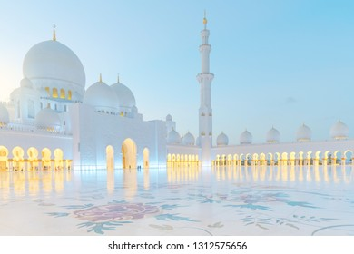 ABU DHABI, UAE - JAN 22, 2019: Bright view of Sheikh Zayed Grand Mosque during sunset.