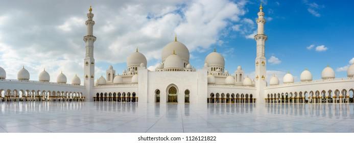 Abu Dhabi, UAE, Januaey 30, 2016: Panoramic view of inner court of Sheikh Zayed Grand Mosque in Abu Dhabi, UAE