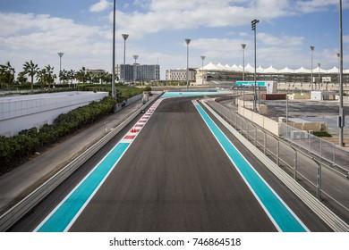 ABU DHABI, UAE - January 05: The Yas Marina Grand Prix Circuit on January 05, 2017 in Abu Dhabi, UAE. The Formula 1 racetrack has on 161.9 ha area 5.5 km length, 41093 seating capacity. Opened in 2009