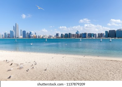 ABU DHABI, UAE - JANUARY 08, 2018: Abu Dhabi cityscape during sunny day