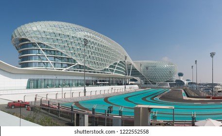 ABU DHABI, UAE - JANUARY 23, 2016: Yas Viceroy Hotel and Yas Marina Circuit, Abu Dhabi. The circuit is the venue for the Abu Dhabi Formula One Grand Prix and runs between two hotel buildings
