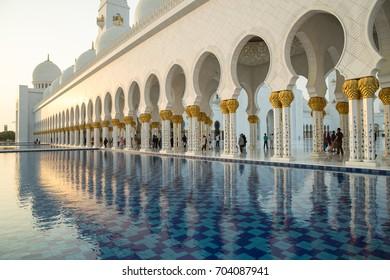 Abu Dhabi, UAE - June 10, 2017: View of Sheikh Zayed Grand Mosque in Abu Dhabi.