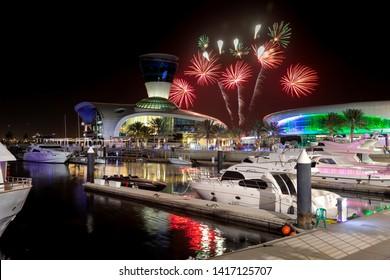 ABU DHABI, UAE - JUNE 5, 2019: Colorful fireworks in Yas Marina in Abu Dhabi, UAE