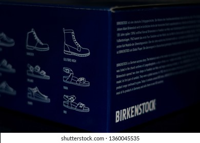 Abu Dhabi, UAE, - Marc 16,2019.Closeup shoot of Birkenstock product package