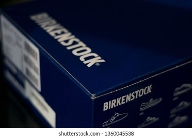Abu Dhabi, UAE, - Marc 16,2019.Closeup shoot of Birkenstock box with side top view