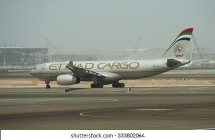 ABU DHABI, UAE - MARCH 10, 2015: Cargo Airbus A330-243F Etihad Cargo on taxiway of airport Abu Dhabi