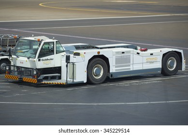ABU DHABI, UAE - MARCH 10, 2015: Airfield tractor Goldhofer. The Airport Of Abu Dhabi