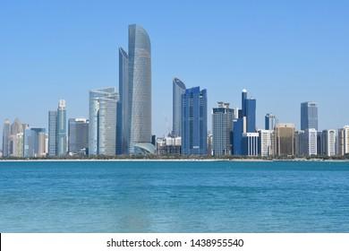 ABU DHABI, UAE  MARCH, 19, 2019. Abu Dhabi skyscrapers in sunny day
