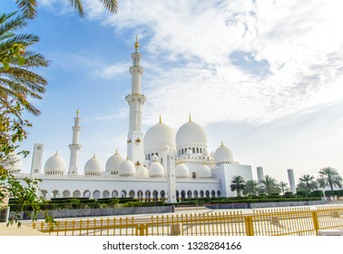 ABU DHABI, UAE - MARCH, 2016: Amazing view of Sheikh Zayed Grand Mosque, one of the most impressive contemporary mosques in the world.