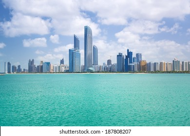 ABU DHABI, UAE - MARCH 27: Cityscape of Abu Dhabi on March 27, 2014, UAE. Abu Dhabi is the capital and the second most populous city in the United Arab Emirates with around 1 million people.
