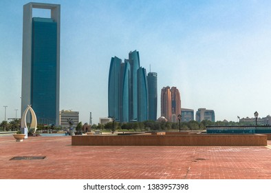Abu Dhabi, UAE - March 31. 2019. Cityscape with skyscrapers and square